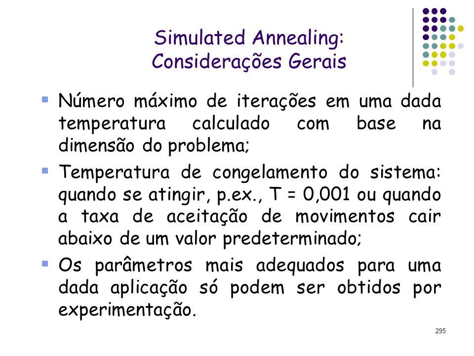 295 Simulated Annealing: Considerações Gerais Número máximo de iterações em uma dada temperatura calculado com base na dimensão do problema; Temperatu