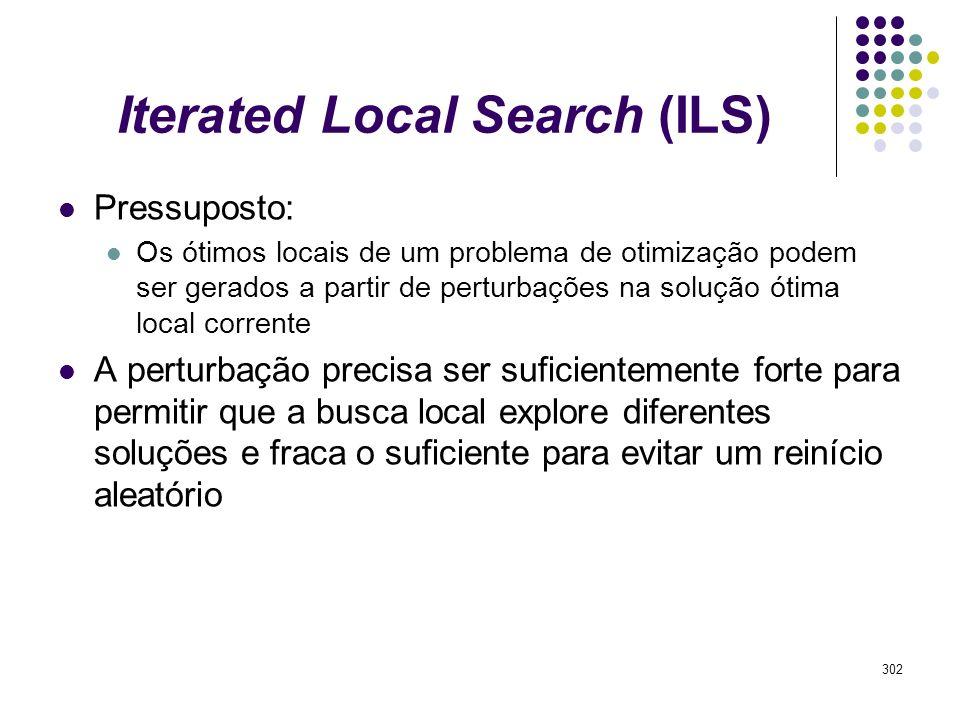 302 Iterated Local Search (ILS) Pressuposto: Os ótimos locais de um problema de otimização podem ser gerados a partir de perturbações na solução ótima