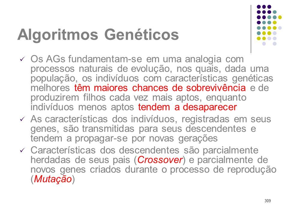 309 Algoritmos Genéticos Os AGs fundamentam-se em uma analogia com processos naturais de evolução, nos quais, dada uma população, os indivíduos com ca