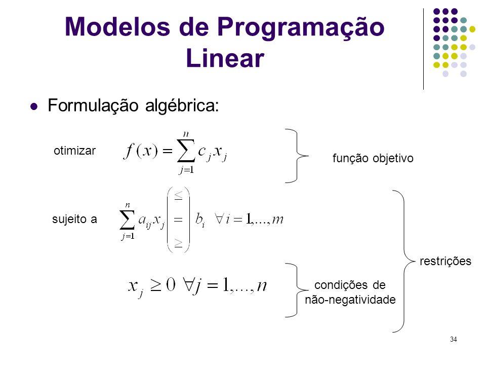 34 Modelos de Programação Linear Formulação algébrica: otimizar sujeito a função objetivo restrições condições de não-negatividade