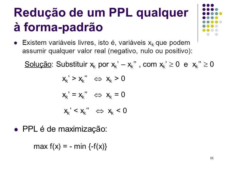 66 Redução de um PPL qualquer à forma-padrão Existem variáveis livres, isto é, variáveis x k que podem assumir qualquer valor real (negativo, nulo ou