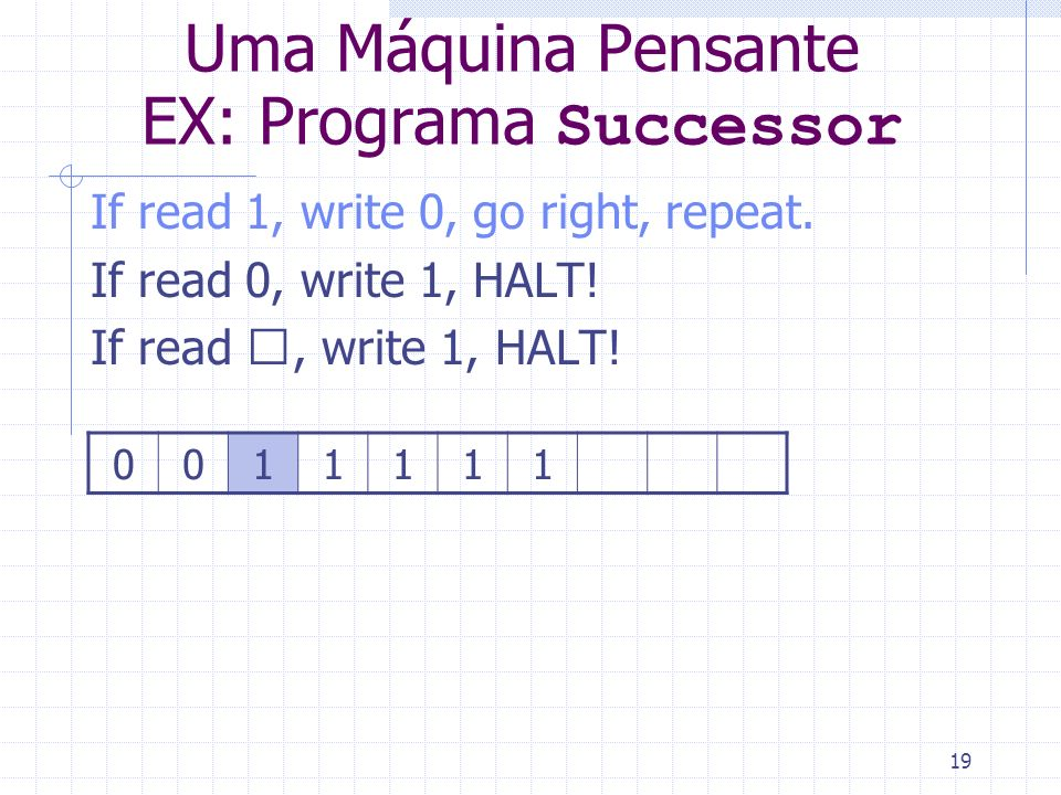 19 Uma Máquina Pensante EX: Programa Successor If read 1, write 0, go right, repeat. If read 0, write 1, HALT! If read , write 1, HALT! 0011111