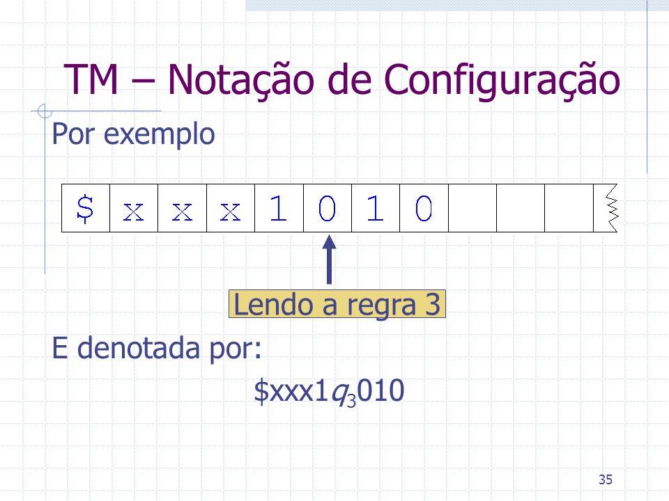 35 TM – Notação de Configuração Por exemplo E denotada por: $xxx1q 3 010 Lendo a regra 3