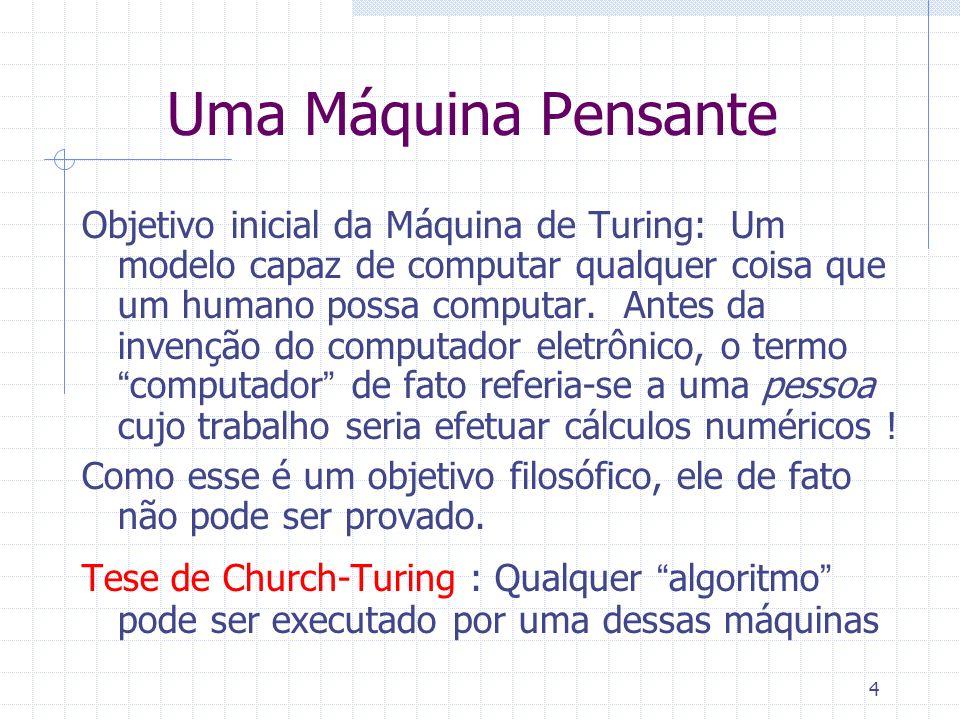 4 Uma Máquina Pensante Objetivo inicial da Máquina de Turing: Um modelo capaz de computar qualquer coisa que um humano possa computar. Antes da invenç