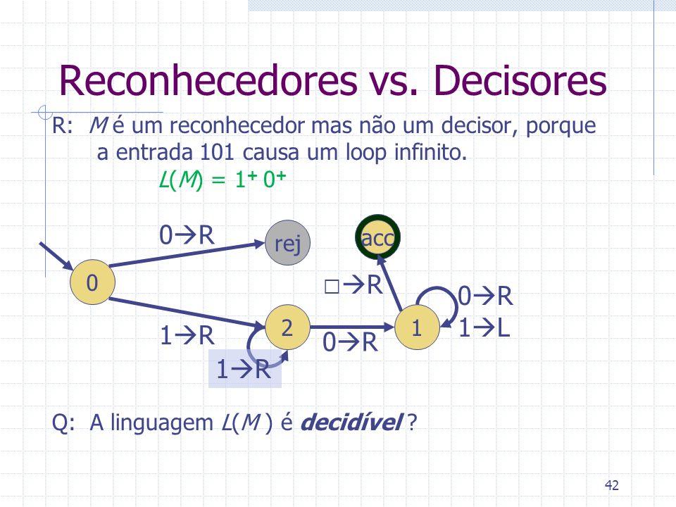 42 Reconhecedores vs. Decisores R: M é um reconhecedor mas não um decisor, porque a entrada 101 causa um loop infinito. L(M) = 1 + 0 + Q: A linguagem