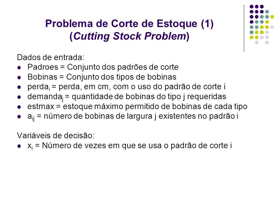 Problema de Corte de Estoque (1) (Cutting Stock Problem) Dados de entrada: Padroes = Conjunto dos padrões de corte Bobinas = Conjunto dos tipos de bob