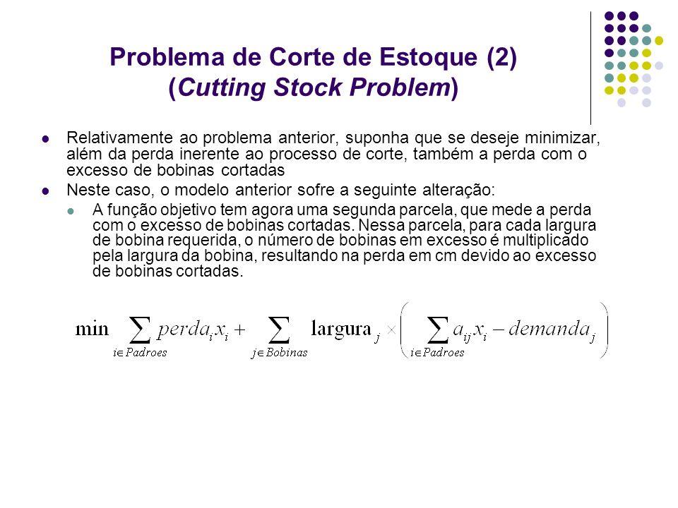 Problema de Corte de Estoque (2) (Cutting Stock Problem) Relativamente ao problema anterior, suponha que se deseje minimizar, além da perda inerente a