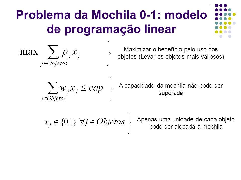 Problema da Mochila 0-1: modelo de programação linear Maximizar o benefício pelo uso dos objetos (Levar os objetos mais valiosos) A capacidade da moch