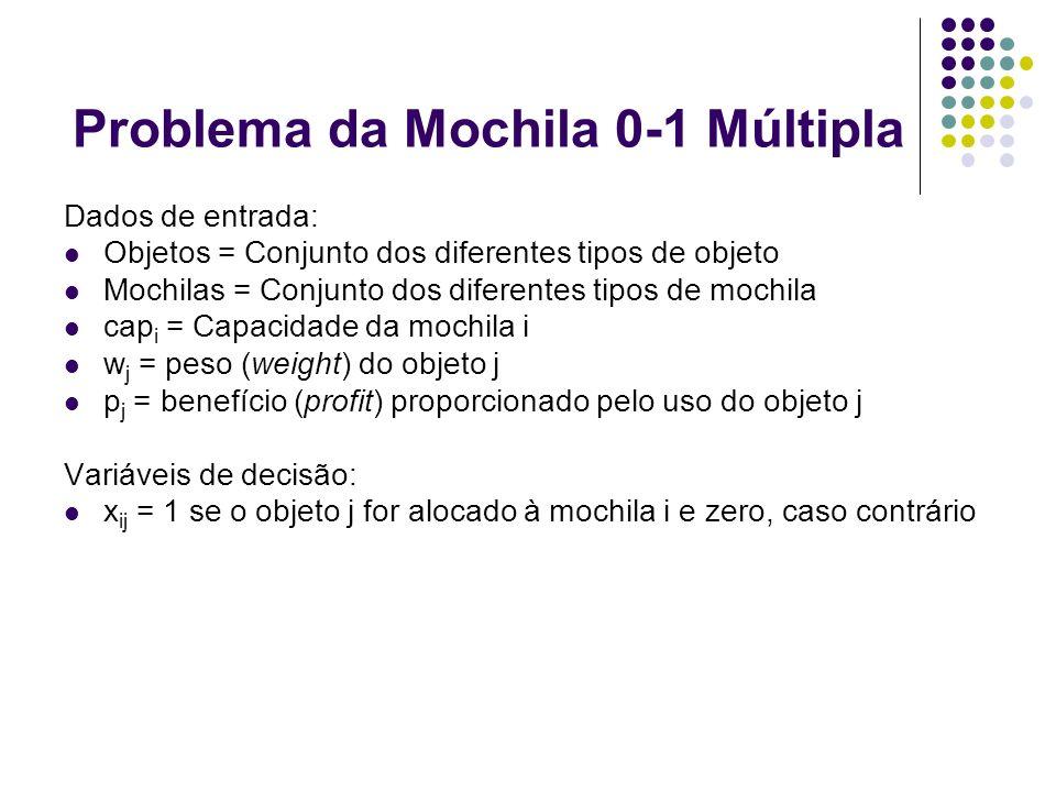 Problema da Mochila 0-1 Múltipla Dados de entrada: Objetos = Conjunto dos diferentes tipos de objeto Mochilas = Conjunto dos diferentes tipos de mochi
