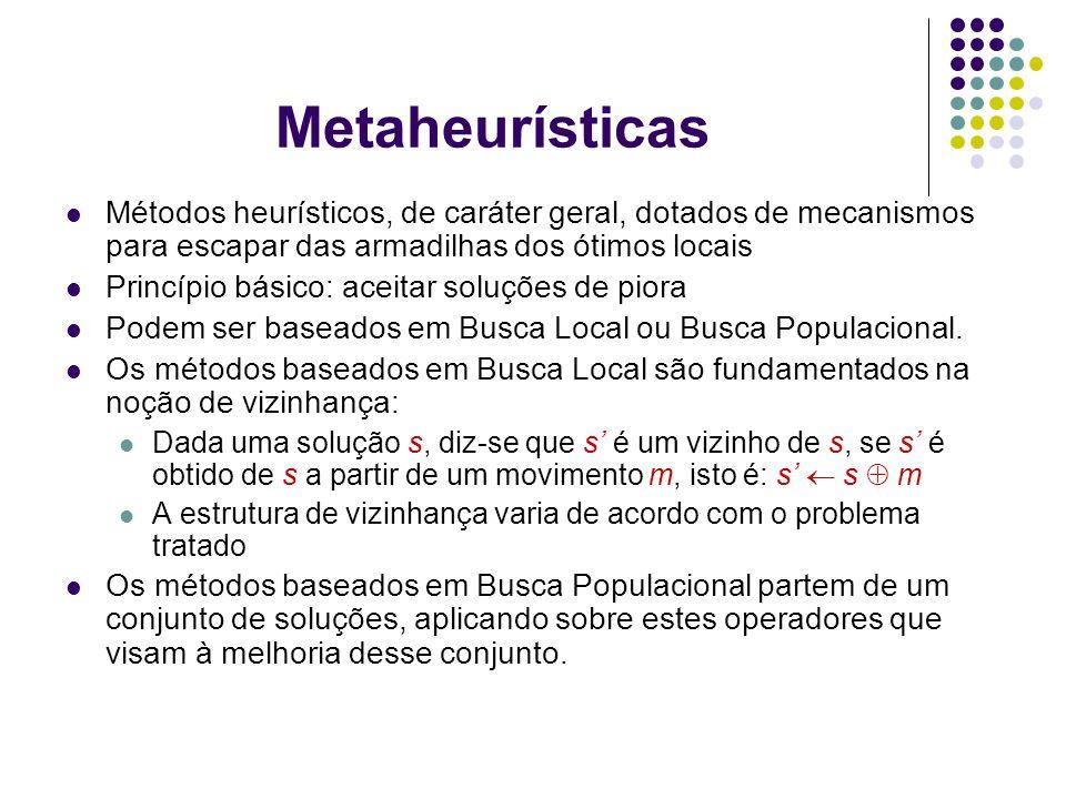 Metaheurísticas Exemplos de metaheurísticas: de busca local: Busca Tabu Simulated Annealing Iterated Local Search (ILS) Variable Neighborhood Search (VNS) Guided Local Search (GLS) de busca populacional: Algoritmos Genéticos Algoritmos Meméticos Colônia de Formigas
