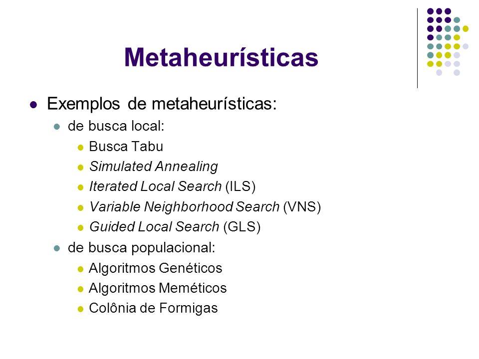 Metaheurísticas Exemplos de metaheurísticas: de busca local: Busca Tabu Simulated Annealing Iterated Local Search (ILS) Variable Neighborhood Search (