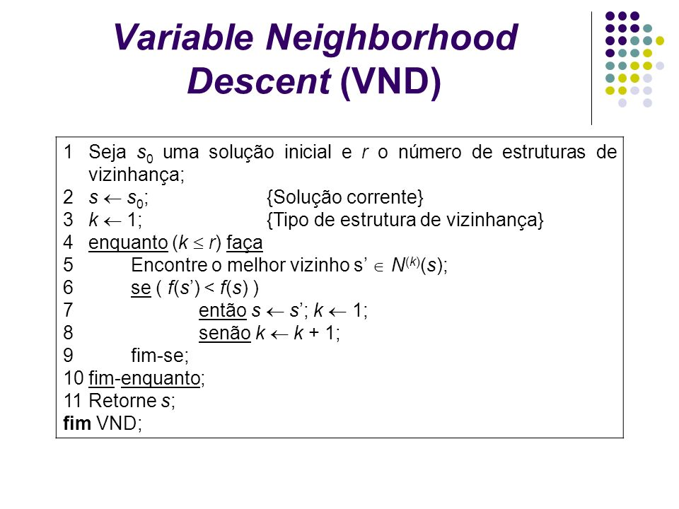 1Seja s 0 uma solução inicial e r o número de estruturas de vizinhança; 2s s 0 ;{Solução corrente} 3k 1;{Tipo de estrutura de vizinhança} 4enquanto (k