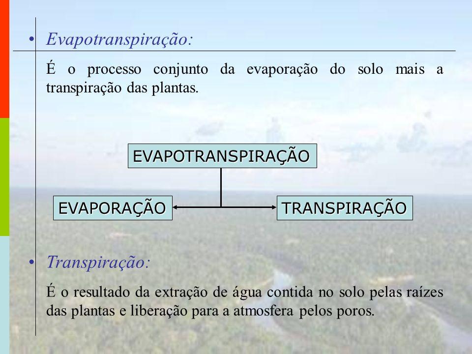 Evapotranspiração: É o processo conjunto da evaporação do solo mais a transpiração das plantas. EVAPOTRANSPIRAÇÃO EVAPORAÇÃOTRANSPIRAÇÃO Transpiração: