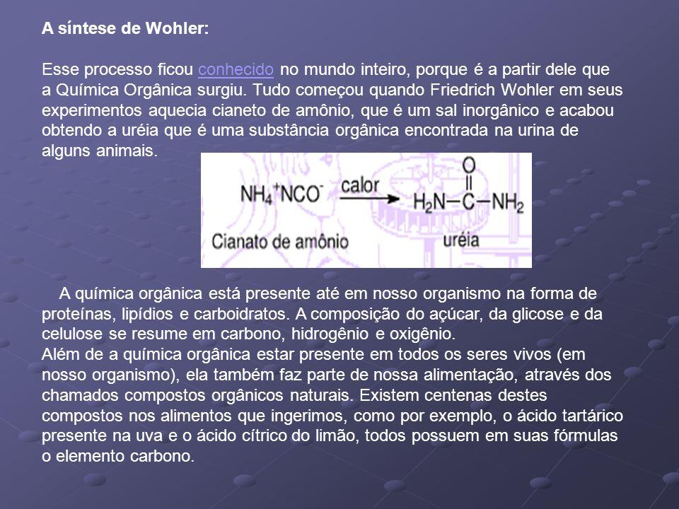 A síntese de Wohler: Esse processo ficou conhecido no mundo inteiro, porque é a partir dele que a Química Orgânica surgiu. Tudo começou quando Friedri