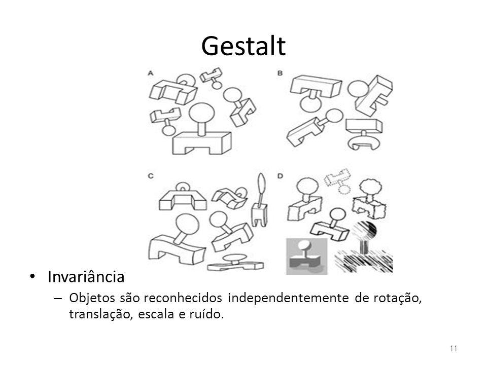 Gestalt Invariância – Objetos são reconhecidos independentemente de rotação, translação, escala e ruído. 11
