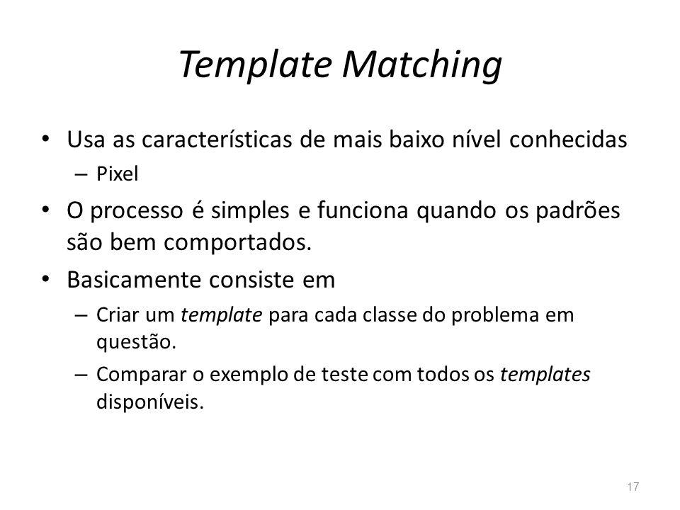 Template Matching Usa as características de mais baixo nível conhecidas – Pixel O processo é simples e funciona quando os padrões são bem comportados.