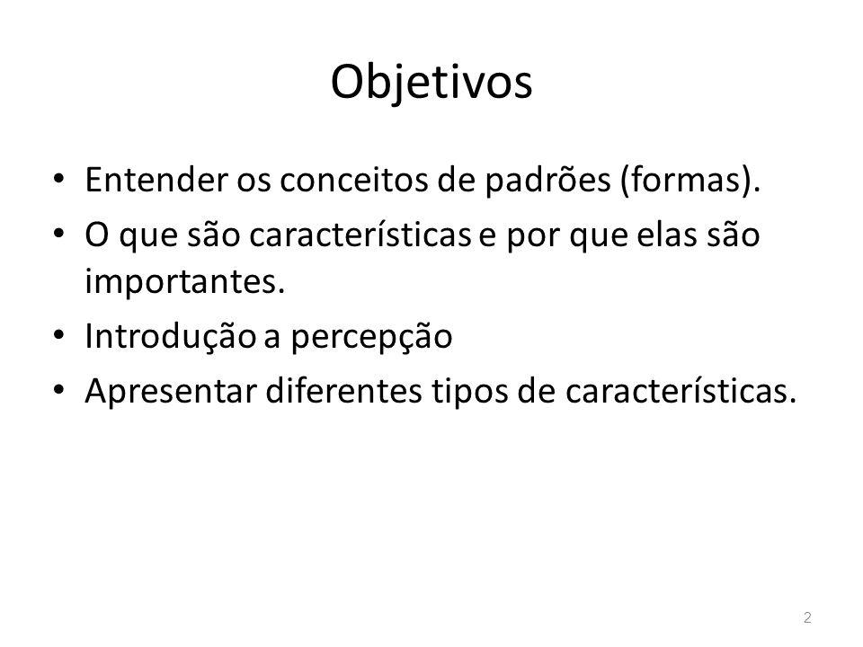 Objetivos Entender os conceitos de padrões (formas). O que são características e por que elas são importantes. Introdução a percepção Apresentar difer