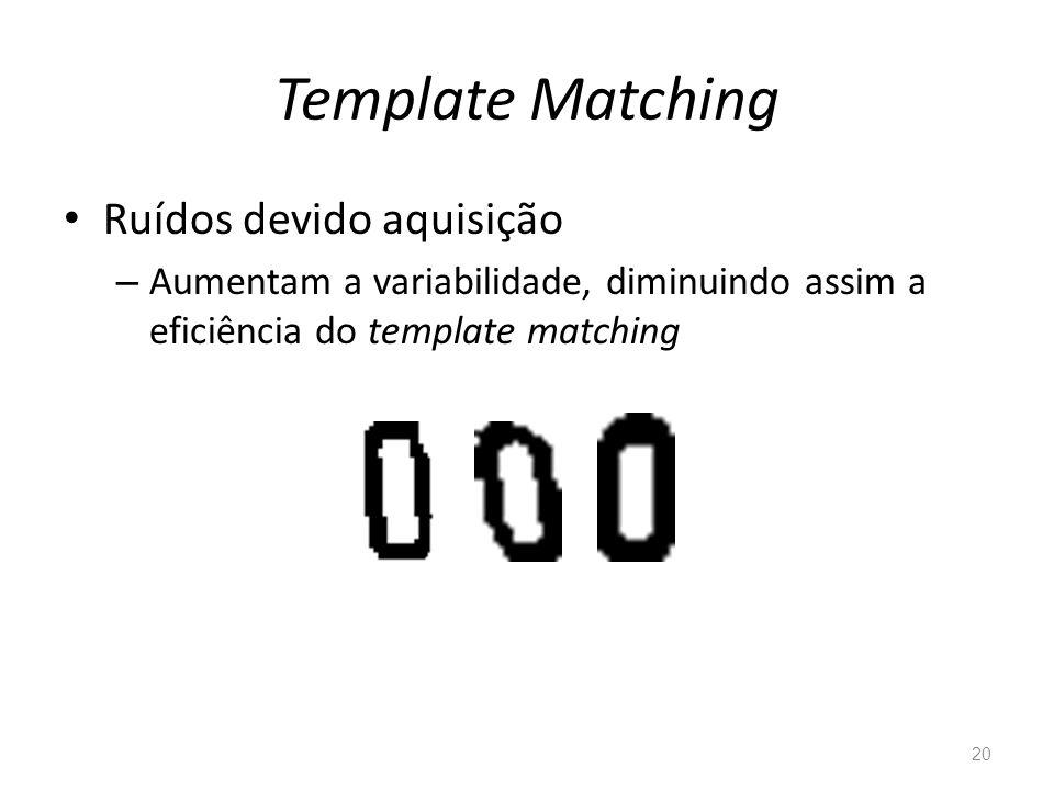 Template Matching Ruídos devido aquisição – Aumentam a variabilidade, diminuindo assim a eficiência do template matching 20