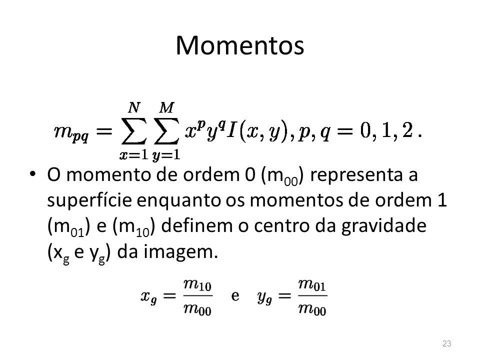 Momentos O momento de ordem 0 (m 00 ) representa a superfície enquanto os momentos de ordem 1 (m 01 ) e (m 10 ) definem o centro da gravidade (x g e y