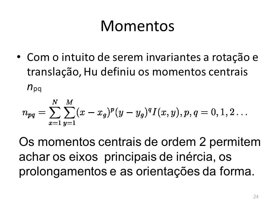 Momentos Com o intuito de serem invariantes a rotação e translação, Hu definiu os momentos centrais n pq Os momentos centrais de ordem 2 permitem acha