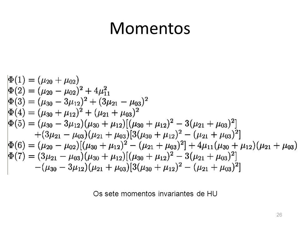 Momentos Os sete momentos invariantes de HU 26