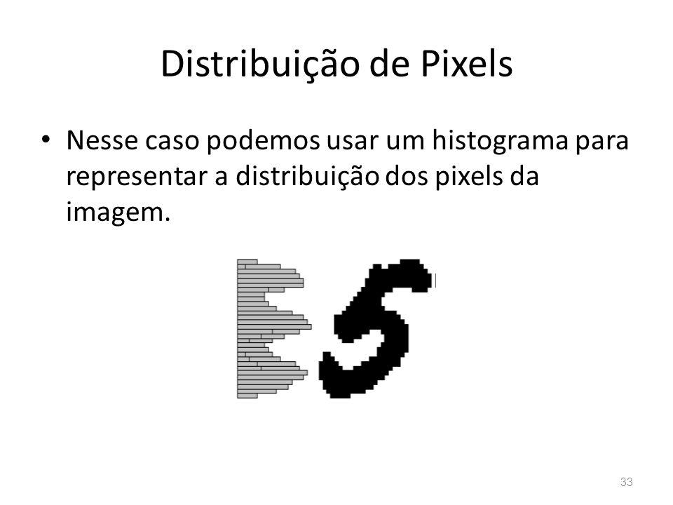 Distribuição de Pixels Nesse caso podemos usar um histograma para representar a distribuição dos pixels da imagem. 33