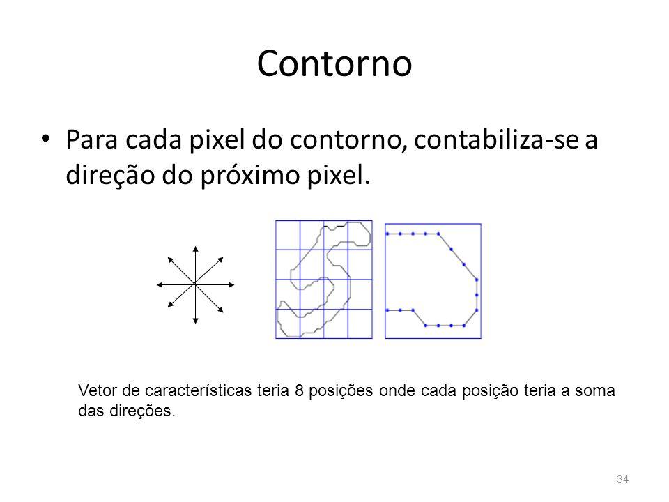 Contorno Para cada pixel do contorno, contabiliza-se a direção do próximo pixel. Vetor de características teria 8 posições onde cada posição teria a s