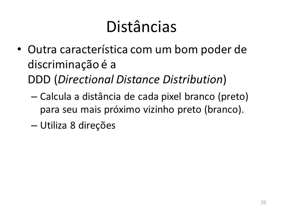 Distâncias Outra característica com um bom poder de discriminação é a DDD (Directional Distance Distribution) – Calcula a distância de cada pixel bran