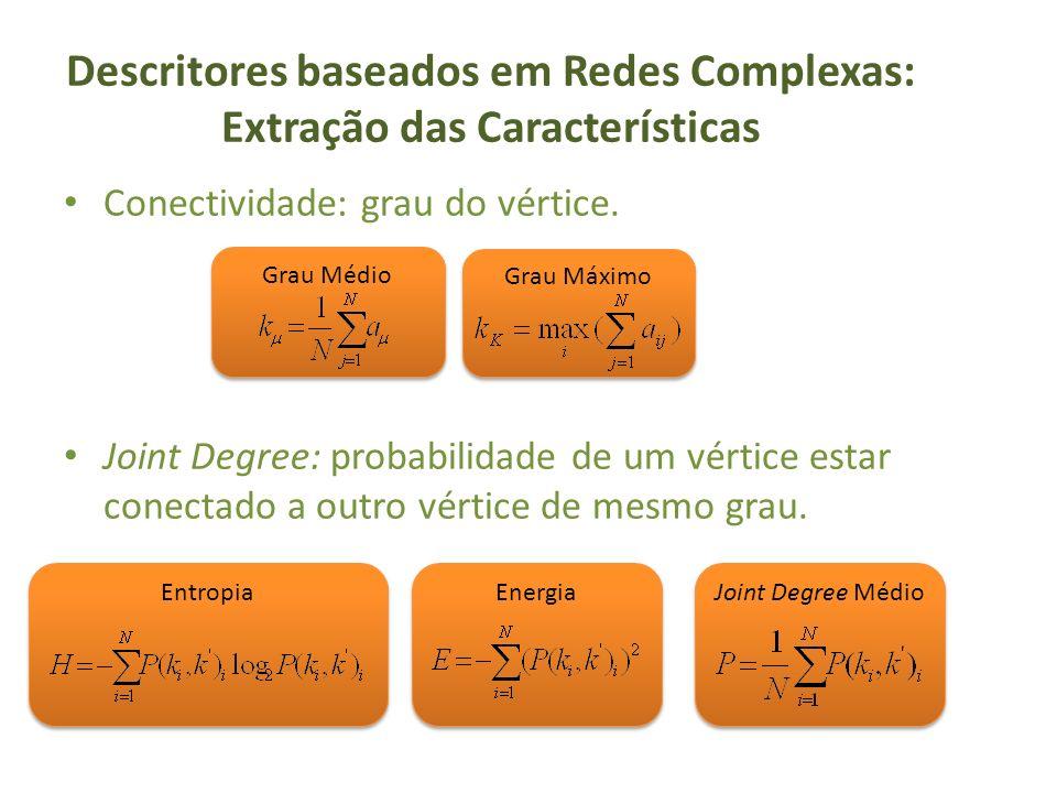 Descritores baseados em Redes Complexas: Extração das Características Conectividade: grau do vértice. Joint Degree: probabilidade de um vértice estar