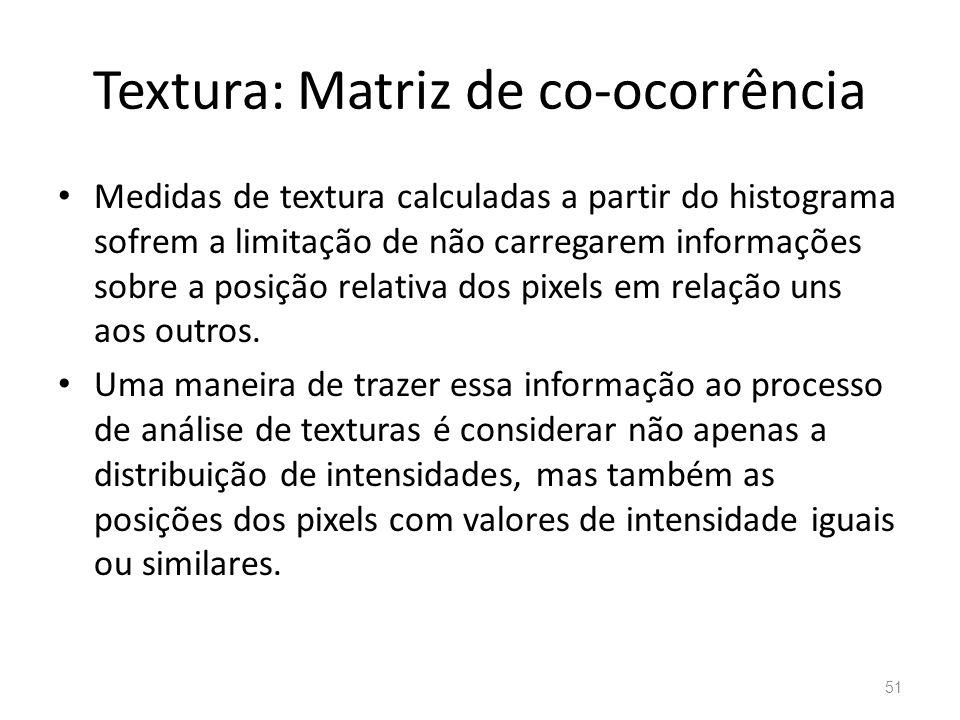 Textura: Matriz de co-ocorrência Medidas de textura calculadas a partir do histograma sofrem a limitação de não carregarem informações sobre a posição