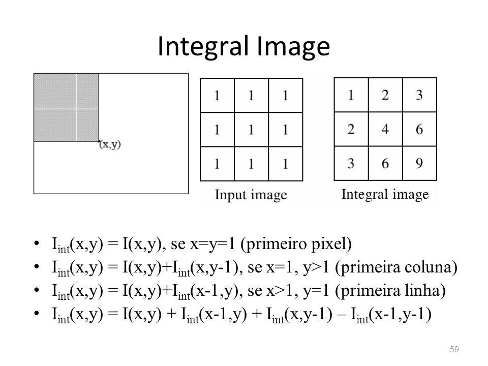 Integral Image I int (x,y) = I(x,y), se x=y=1 (primeiro pixel) I int (x,y) = I(x,y)+I int (x,y-1), se x=1, y>1 (primeira coluna) I int (x,y) = I(x,y)+