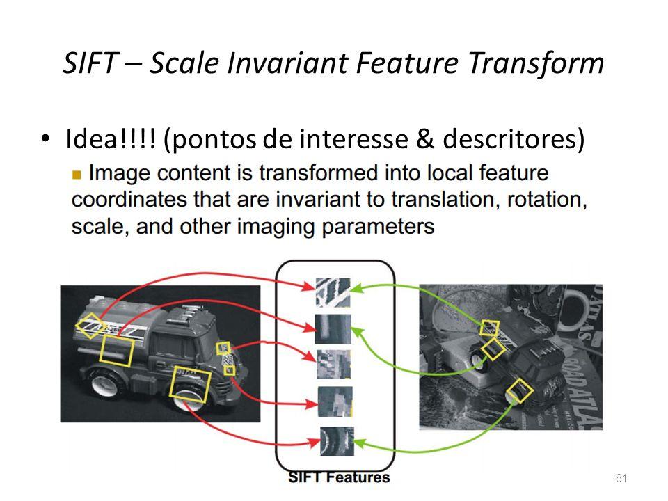 SIFT – Scale Invariant Feature Transform 61 Idea!!!! (pontos de interesse & descritores)