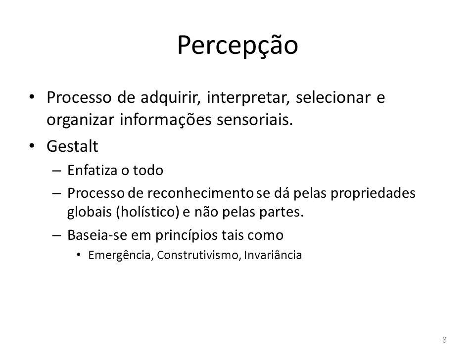 Percepção Processo de adquirir, interpretar, selecionar e organizar informações sensoriais. Gestalt – Enfatiza o todo – Processo de reconhecimento se