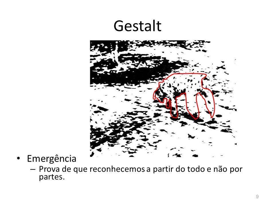 Gestalt Emergência – Prova de que reconhecemos a partir do todo e não por partes. 9