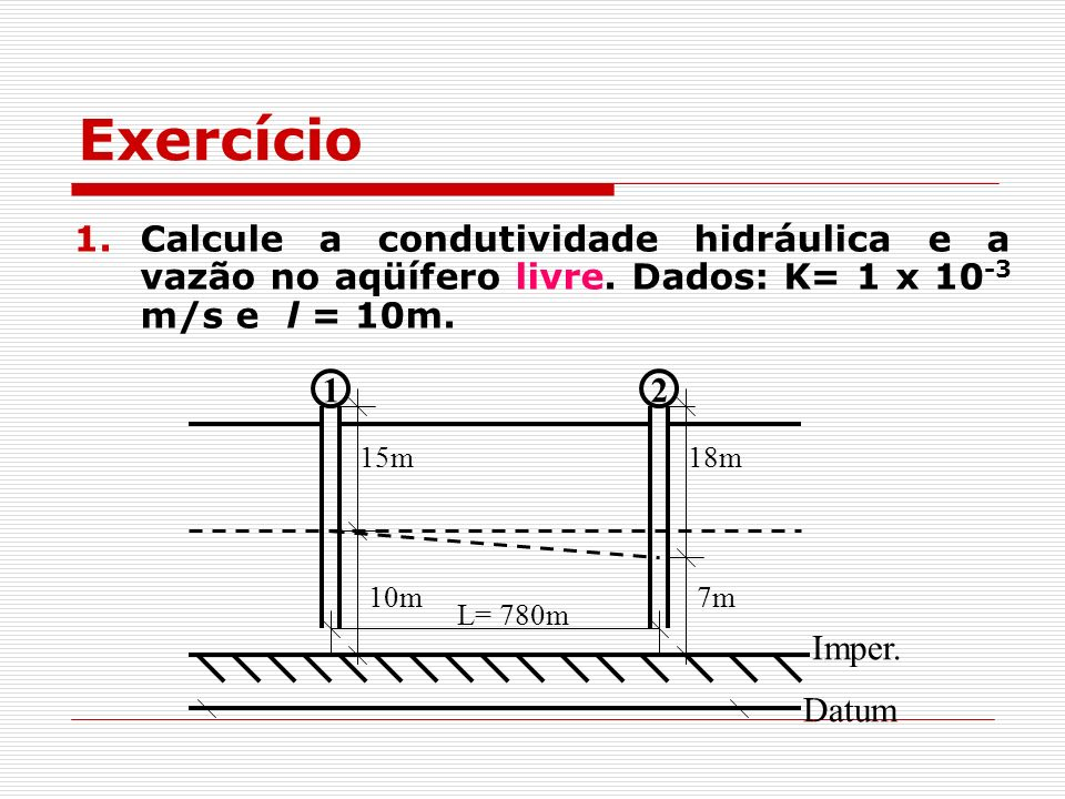 1.Calcule a condutividade hidráulica e a vazão no aqüífero livre. Dados: K= 1 x 10 -3 m/s e l = 10m. 12 L= 780m 15m18m Imper. Datum 10m7m Exercício