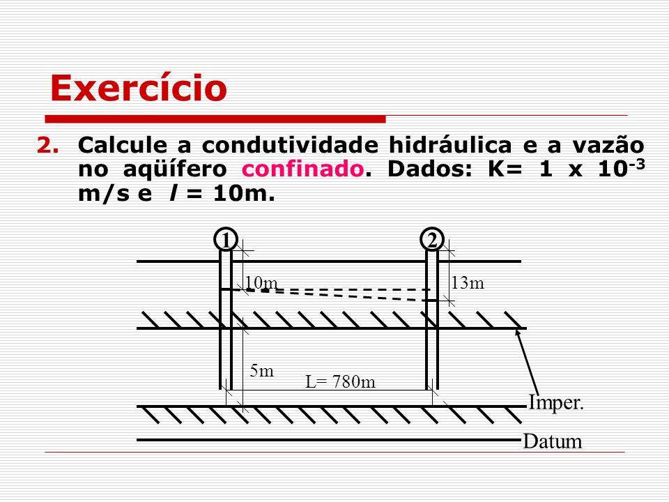 2.Calcule a condutividade hidráulica e a vazão no aqüífero confinado. Dados: K= 1 x 10 -3 m/s e l = 10m. Imper. Datum 12 L= 780m 10m13m 5m Exercício
