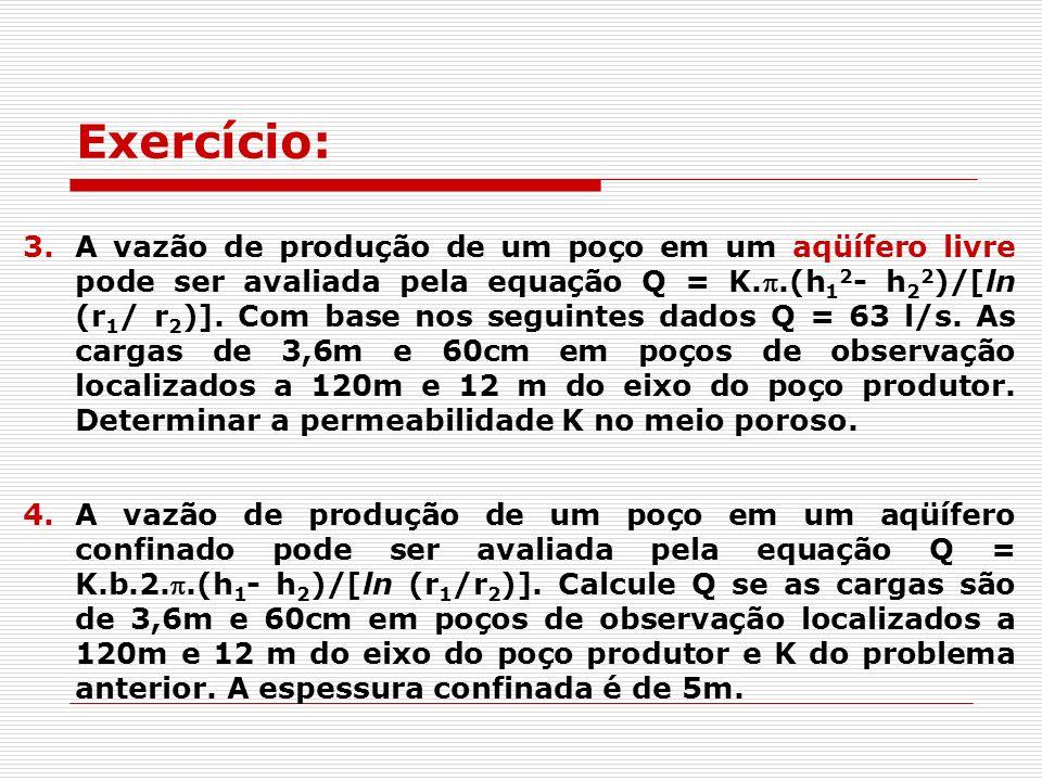 3.A vazão de produção de um poço em um aqüífero livre pode ser avaliada pela equação Q = K..(h 1 2 - h 2 2 )/[ln (r 1 / r 2 )].