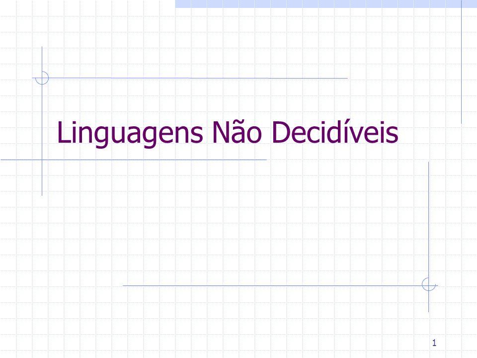 22 Uma linguagem não decidível Agora sabemos que existe uma linguagem não reconhecível.