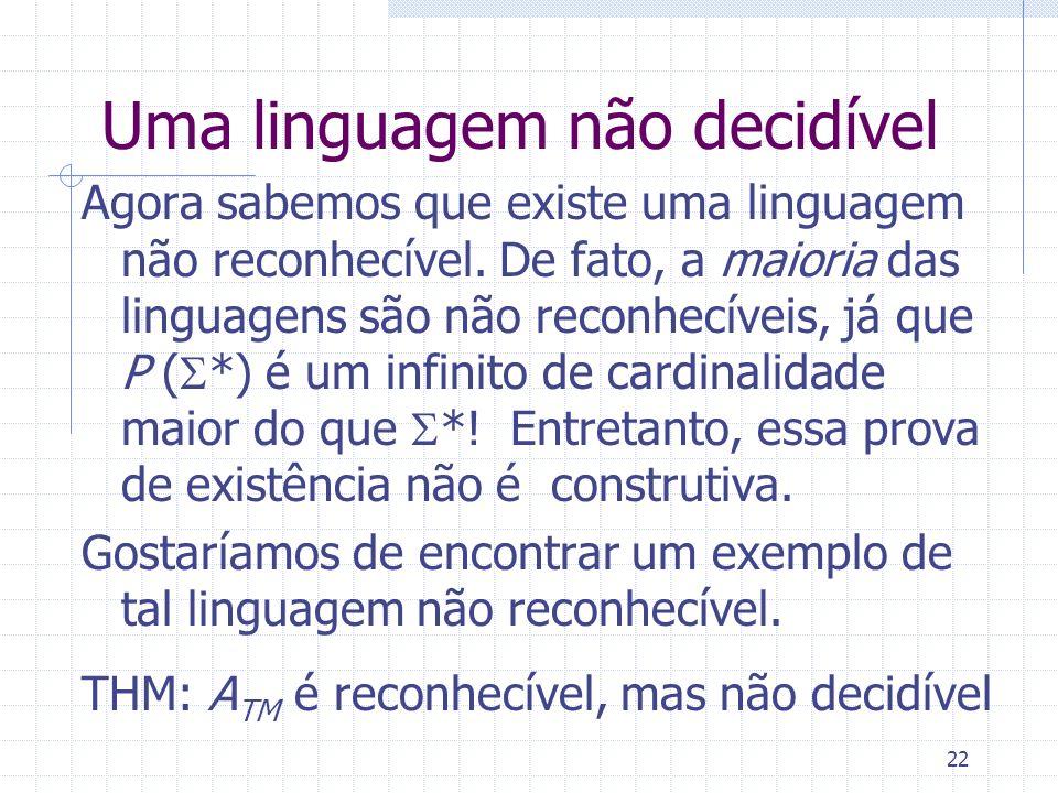 22 Uma linguagem não decidível Agora sabemos que existe uma linguagem não reconhecível. De fato, a maioria das linguagens são não reconhecíveis, já qu