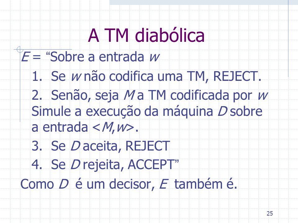 25 A TM diabólica E = Sobre a entrada w 1. Se w não codifica uma TM, REJECT. 2. Senão, seja M a TM codificada por w Simule a execução da máquina D sob