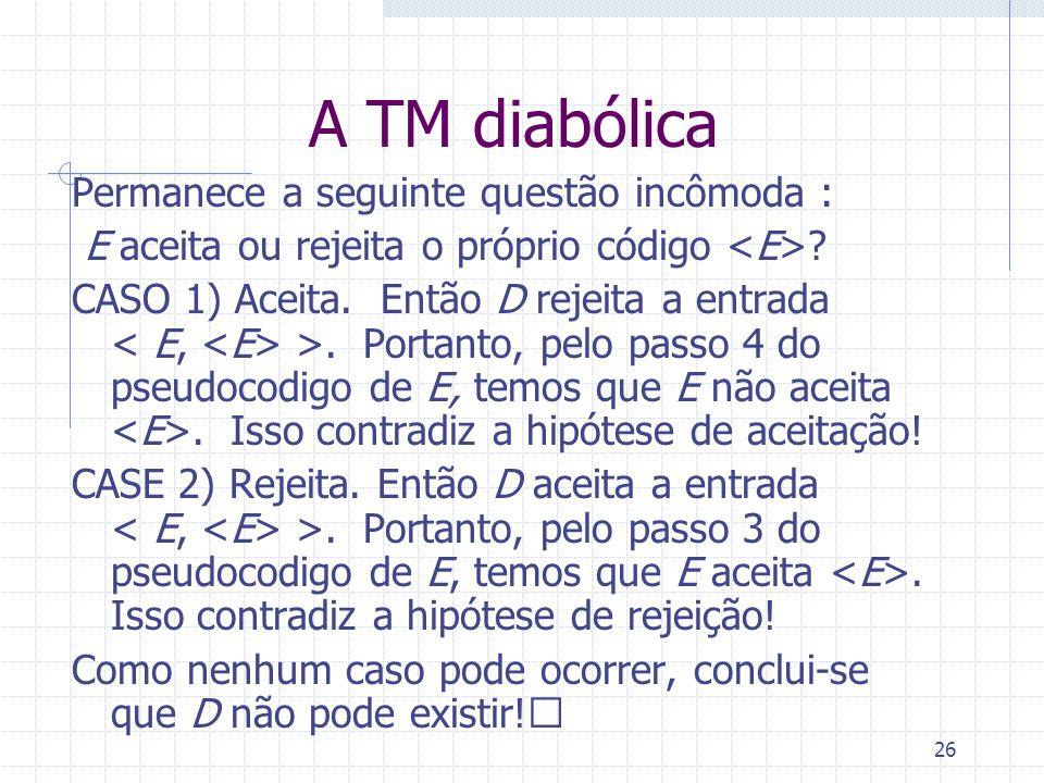 26 A TM diabólica Permanece a seguinte questão incômoda : E aceita ou rejeita o próprio código ? CASO 1) Aceita. Então D rejeita a entrada >. Portanto