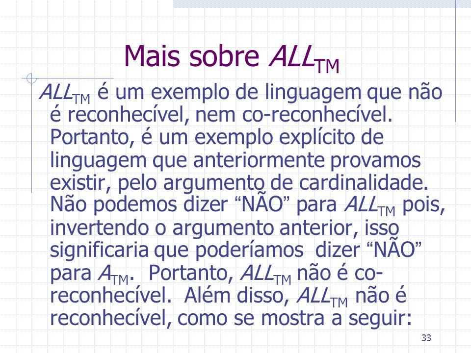 33 Mais sobre ALL TM ALL TM é um exemplo de linguagem que não é reconhecível, nem co-reconhecível. Portanto, é um exemplo explícito de linguagem que a
