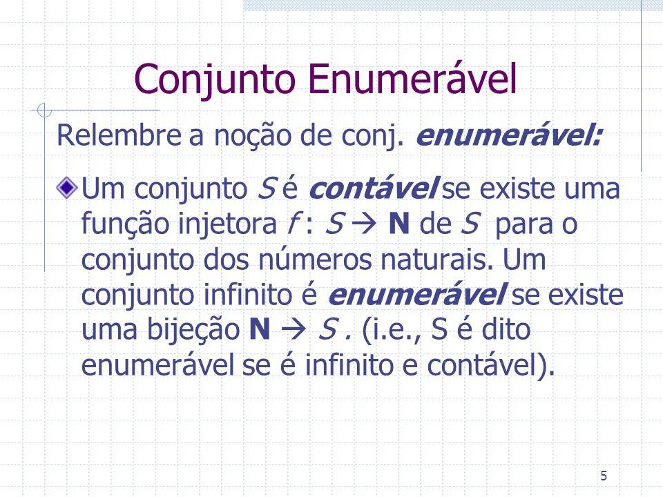 Conjunto Enumerável Relembre a noção de conj. enumerável: Um conjunto S é contável se existe uma função injetora f : S N de S para o conjunto dos núme