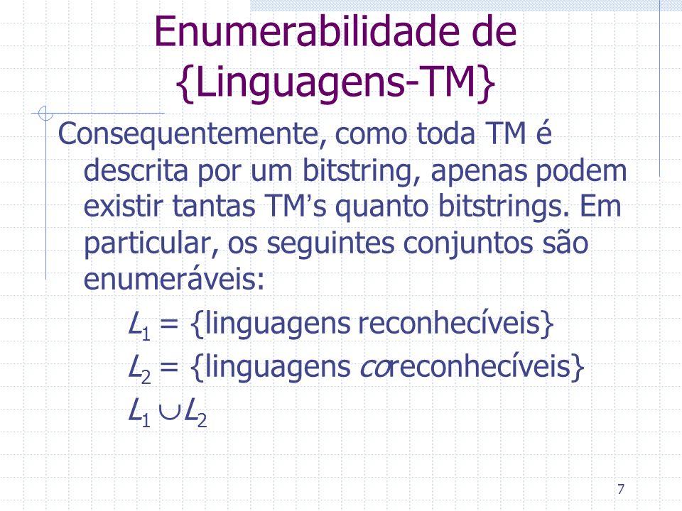 7 Enumerabilidade de {Linguagens-TM} Consequentemente, como toda TM é descrita por um bitstring, apenas podem existir tantas TMs quanto bitstrings. Em