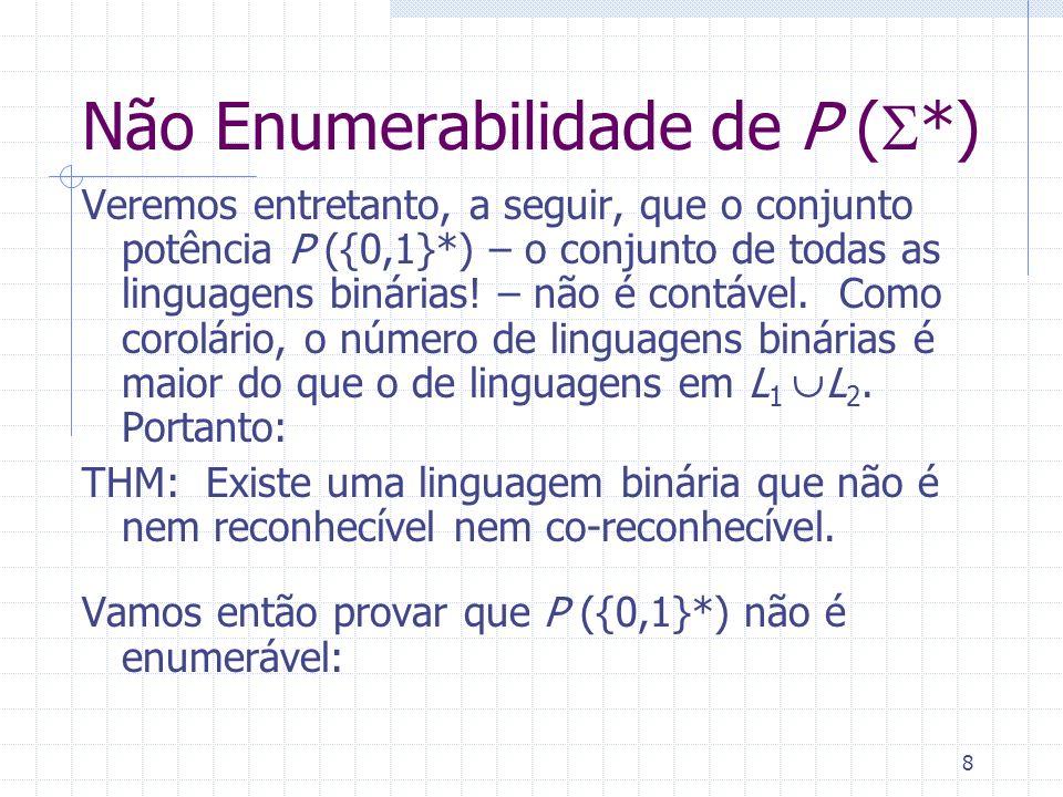9 Não Enumerabilidade de P ( *) Note que qq subconjunto T P ( *) pode ser visto como uma função f: * {0,1} : f(x) =1 se s T ; f(x) = 0 se s T.