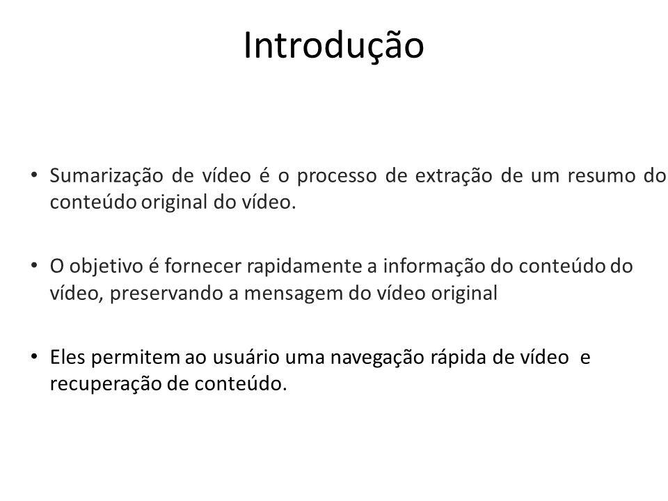 Introdução Sumarização de vídeo é o processo de extração de um resumo do conteúdo original do vídeo.