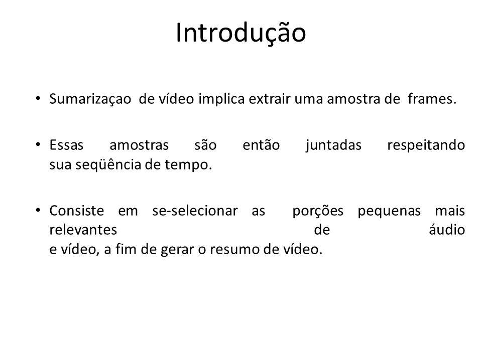 Introdução Sumarizaçao de vídeo implica extrair uma amostra de frames.
