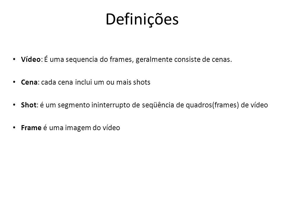Definições Vídeo: É uma sequencia do frames, geralmente consiste de cenas.