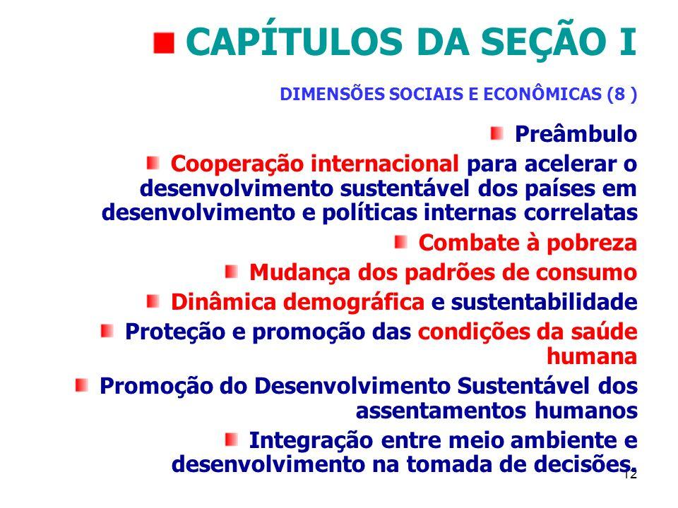 12 CAPÍTULOS DA SEÇÃO I DIMENSÕES SOCIAIS E ECONÔMICAS (8 ) Preâmbulo Cooperação internacional para acelerar o desenvolvimento sustentável dos países