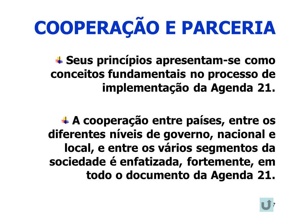 17 COOPERAÇÃO E PARCERIA Seus princípios apresentam-se como conceitos fundamentais no processo de implementação da Agenda 21. A cooperação entre paíse